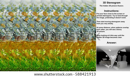 Stereogram illusion with tornado crossing farm in hidden 3D picture