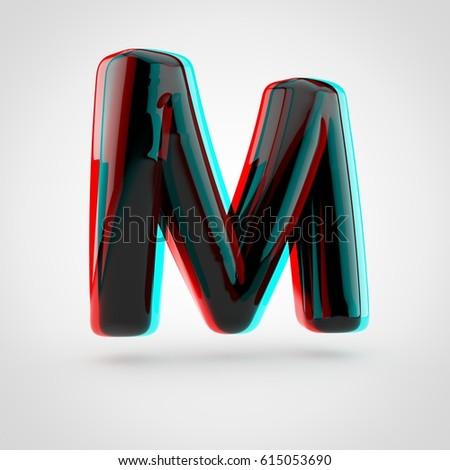 Stereoscopic Glossy Black Letter M Uppercase Stock Illustration