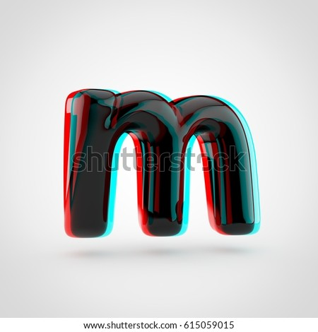 Stereoscopic Glossy Black Letter M Lowercase Stock Illustration