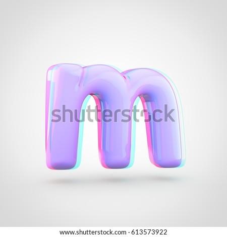 Stereoscopic Glossy Violet Letter M Lowercase Stock Illustration