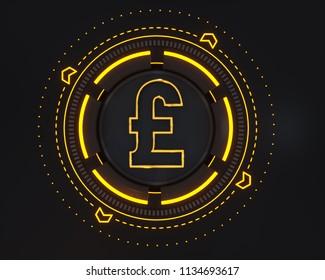 Sterling Money Logo Symbol. 3D Illustration of Gold Sterling Money Logo on the Black Digital Background and Yellow Glow Shape.