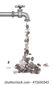 STERLING SILVER falling from the tap coins