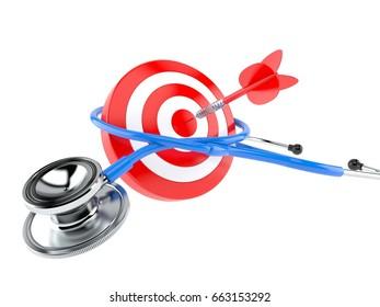 Stethoscope with bull's eye isolated on white background. 3d illustration