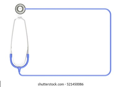 Stethoscope as frame, blue color. 3D rendering isolated on white background