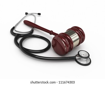 Stethoscope and gavel render (isolated on white and clipping path)