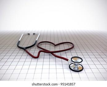 stethoscope heart shape on tiled floor