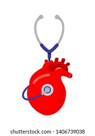 Stethoscope in human heart shape. Checking on heart, medical concept. Illustration isolated on white background.
