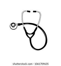 Stethoscope illustration isolated on white background. Medicial tool. Doctor symbol.