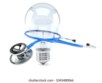 Stethoscope with Light bulb isolated on white background. 3d illustration
