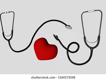 Stethoscope. Medical equipment. On white background. Treatment, medicine, hospital, heart. 3d rendering