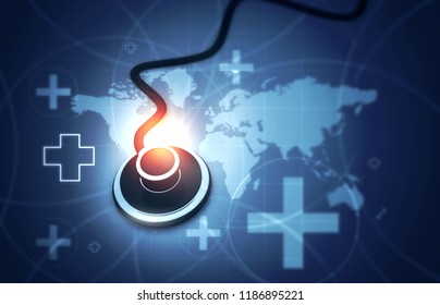 Stethoscope on medical background. 3d illustration