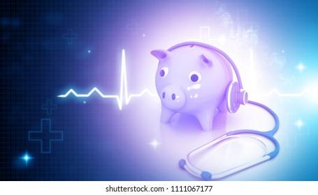 stethoscope with piggy bank on blue medical background. 3d illustration