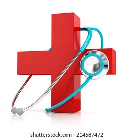 stethoscope and red first aid symbol isolated on white background. 3d illustration. medical concept