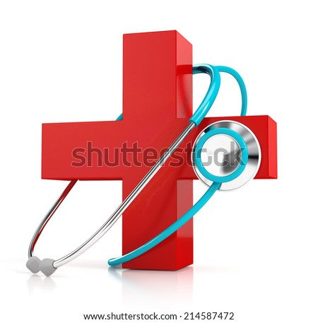 Stethoscope Red First Aid Symbol Isolated Stock Illustration