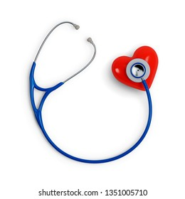 Stethoscope and Red Heart isolated on White Background. 3D illustration