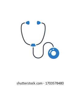 Stethoscope related glyph icon. Isolated on white background. illustration.