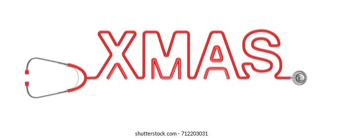 Stethoscope XMAS type / 3D illustration of stethoscope tubing forming XMAS text