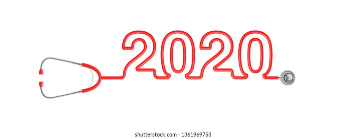 Stethoscope year 2020 / 3D illustration of stethoscope tubing forming year 2020 text