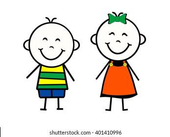 Stick Figure Boy and Girl