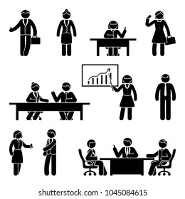 Stick figure business report icon set. Illustration of workplace on white