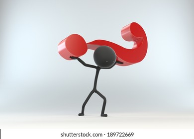 Stick Figure Lifting a Question Mark in the Air