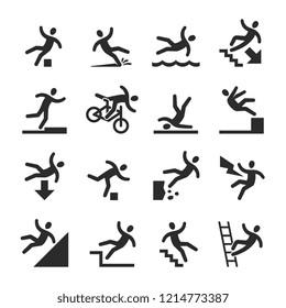 Stick figure man falling beware, hazard warning symbols. Person injury at work signs isolated