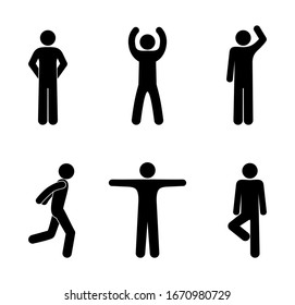 stick figure man icon isolated people pictograms various poses set