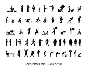 stick figure man, pictogram set, people different poses icons, movement silhouettes human silhouette stand, walk, sit, family symbol, signs