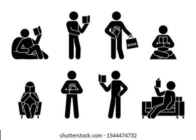 Stick figure man reading book different poses illustration icon pictogram. Student boy learning studying lesson silhouette on white background