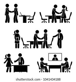 Stick figure negotiation icon set. Illustration of hands shaking meeting pictogram on white