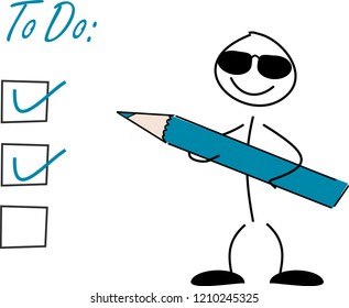 Stick figure with a pen and a todo-list