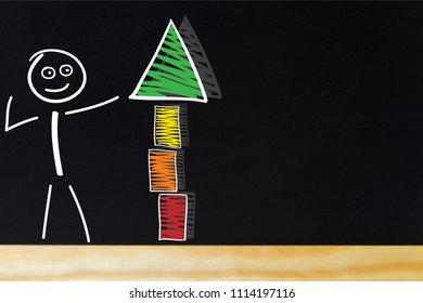 Stick figure pointing at construction arrow.