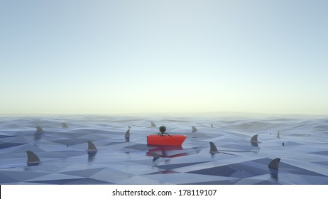Stick Figure Stuck in Boat with Sharks Circling Around Him