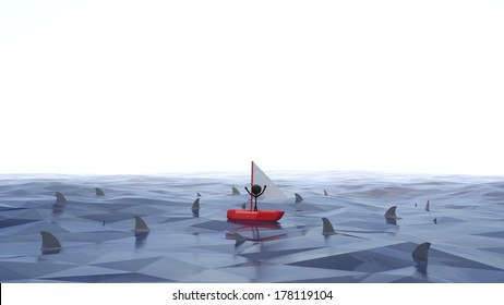 Stick Figure Stuck in Boat Waving for Help with Sharks Circling Around Him, Fading to a White Background