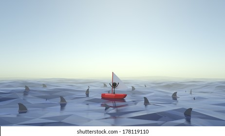 Stick Figure Stuck in Boat Waving for Help with Sharks Circling Around Him