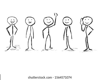 Stick figure team isolated white background