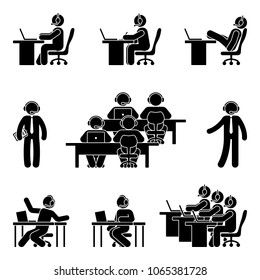 Stick figure working man using computer in call center. Illustration of customer support icon set on white