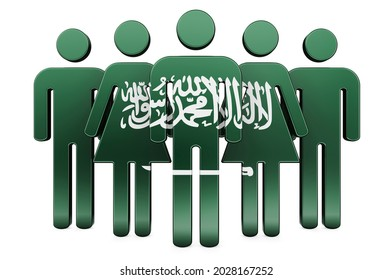 Stick figures with Saudi Arabian flag. Social community and citizens of Saudi Arabia, 3D rendering isolated on white background