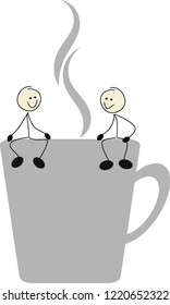 Stick figures are sitting at the break on a cup of coffee