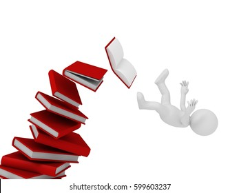 Stick man falling from books in 3D rendering.