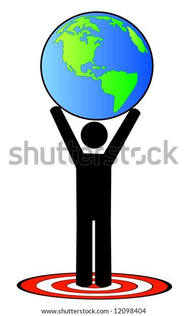 stick man or figure attaining a global goal