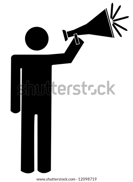 stick man or figure talking into bullhorn or megaphone