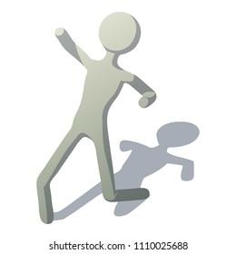 Stick man slipped icon. Isometric illustration of stick man slipped icon for web