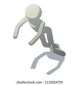 Stick man stumbling icon. Isometric illustration of stick man stumbling icon for web
