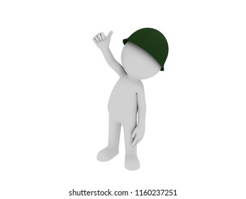 Stick man wearing military helmet thumbing up in 3D rendering.