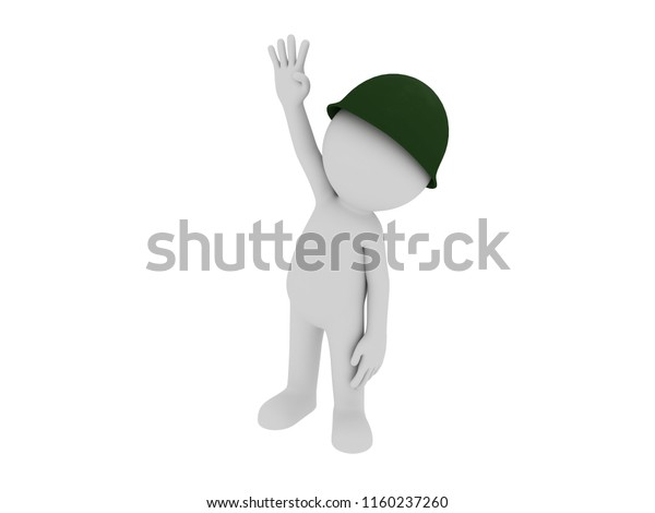 Stick Man Wearing Military Helmet Showing Stock Illustration 1160237260