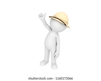 Stick man wearing pith helmet thumbing up in 3D rendering.