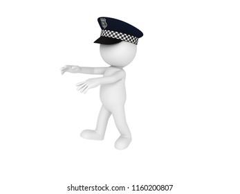 Stick man wearing police hat walking like zombie in 3D rendering.