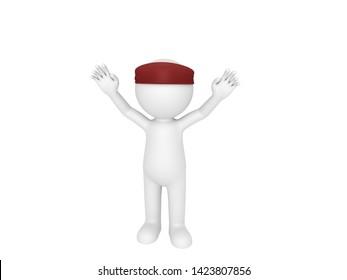 Stick man wearing Red Headband in 3D rendering.