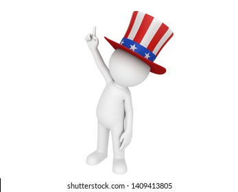 Stick man wearing Uncle Sam's Hat in 3D rendering.